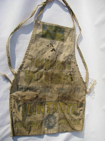 old cotton canvas carpenter's tool bib apron, FG Smith - Freeport Ill.