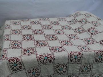 old cotton crochet flower pattern lace, huge handmade vintage bedspread