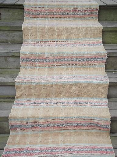 Charming Old Cotton Farmhouse Kitchen Stairs Rug, Long Stair Runner, Vintage 1940s