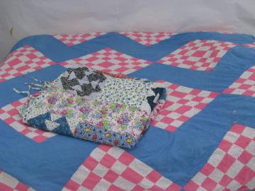 old cotton prints patchwork, vintage quilt feather bed tick covers