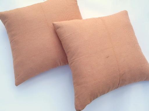 old cotton ticking feather pillows, orange and tan striped vintage fabric
