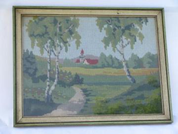 old country little church in the woods, framed vintage needlepoint picture
