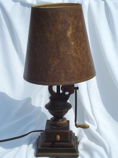 old country primitive coffee grinder lamp, original antiqued paper shade