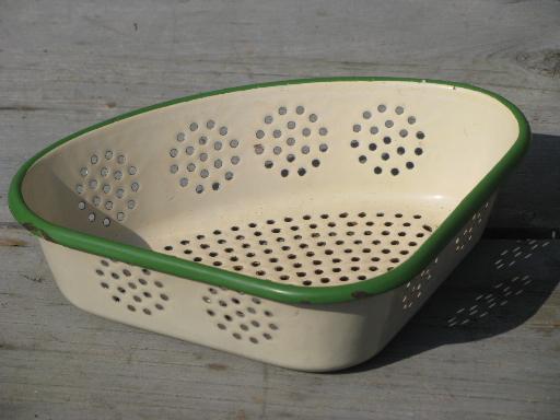 ... and green enamelware sink corner strainer, triangle shape colander