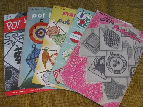 old crochet potholders pattern booklets lot,40s vintage pot holders