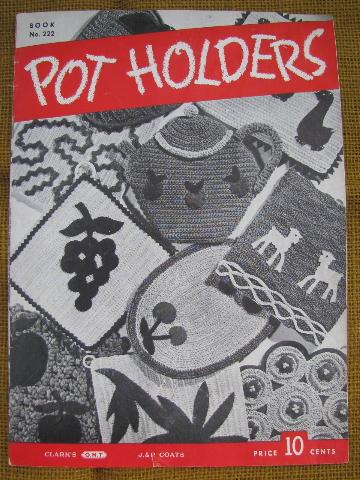 old crochet potholders pattern booklets lot,40s vintage pot holders