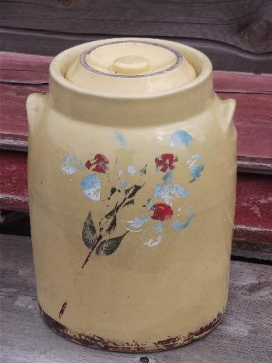 old crock pottery cookie jar or kitchen canister, vintage yellow ware