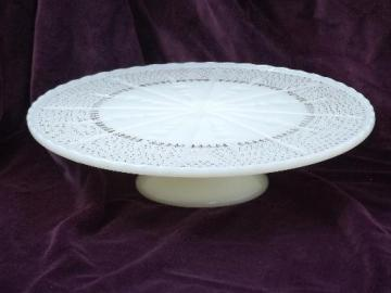 old custard ivory glass cake stand, vintage pedestal plate for desserts