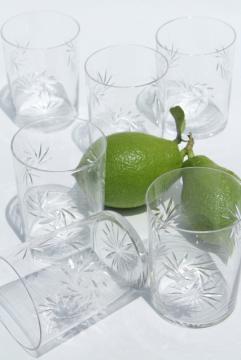old cut crystal tumblers, pinwheel star pattern drinking glasses, vintage set of 6