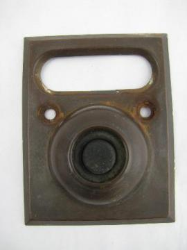 old deco brass architectural doorbell button, 1925 pat