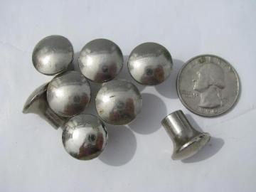 old deco nickel plated medical or dental cabinet hardware, lot of 8 knobs,