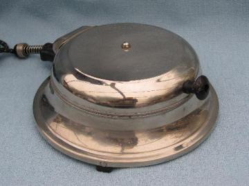 old deco vintage round chrome waffle maker for breakfast table