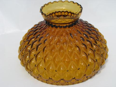 Old Diamond Quilted Amber Glass Table Lamp Light Shade