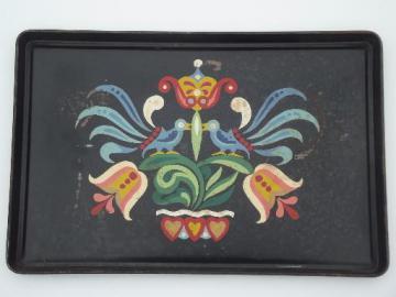 old distlefink folk art hand-painted metal tray, blue birds & tulips