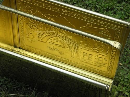 old dutch canal bridge scene, vintage brass plated newspaper rack stand