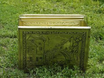old dutch canal bridge scene, vintage brass plated newspaper rack stand