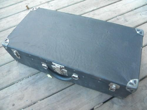 old early century Samson suitcase luggage w/chrome corner hardware