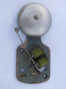 old early electric bell, steampunk machine age doorbell, vintage industrial hardware