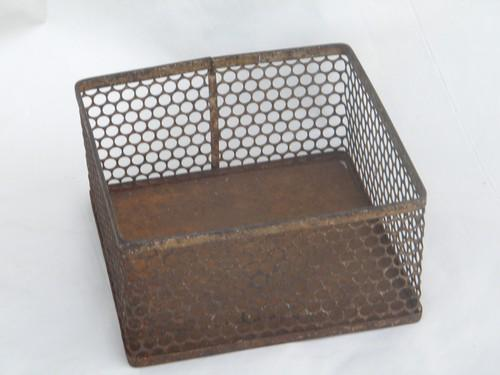 old early industrial machine-age perforated metal desk organizer bin