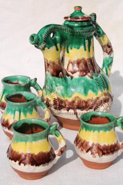 old egg & spinach glaze spatterware pottery coffee pot & cups, terracotta clay