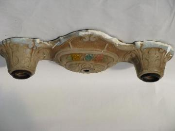old electric twin light ceiling fixture, ornate cast metal, original painted floral