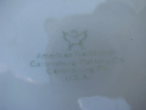 old embossed creamware china covered bowl tureen, vintage American Traditional Canonsburg
