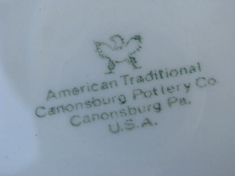 old embossed creamware china, cups & saucers, vintage American Traditional Canonsburg