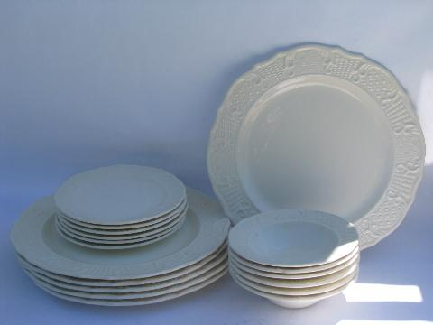 old embossed creamware china, plates & bowls, vintage American Traditional Canonsburg