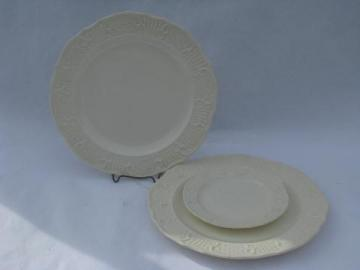 old embossed creamware china plates, vintage American Traditional Canonsburg