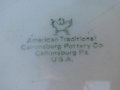 old embossed creamware china serving pieces, vintage American Traditional Canonsburg