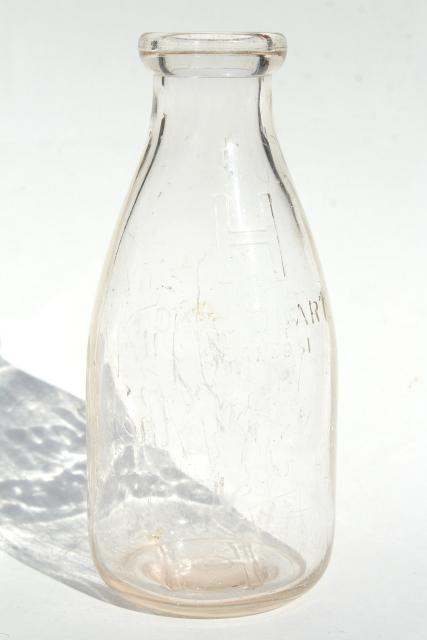 Antique Chandeliers For Sale >> old embossed glass milk bottles, Hey Brothers big & baby brother bottle, 1940s vintage