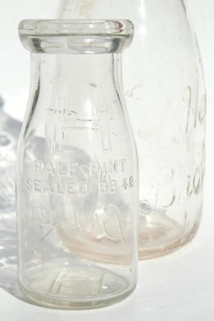 Old Embossed Glass Milk Bottles Hey Brothers Big Amp Baby