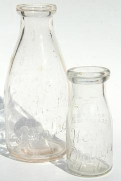 old embossed glass milk bottles, Hey Brothers big & baby brother bottle, 1940s vintage
