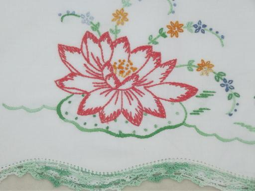 old embroidered cotton pillowcases w/ crochet lace, vintage bed linens lot