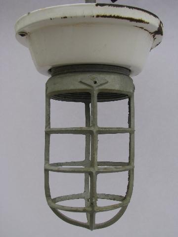 Old Enamel Fixture Cage Light Huge Vintage Industrial