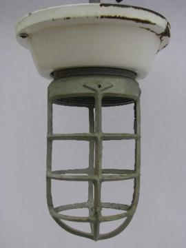 old enamel fixture cage light, huge vintage industrial lighting lamp