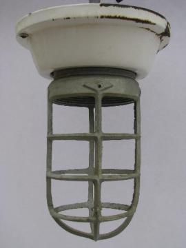 old enamel fixture cage light, huge vintage industrial lighting lamp