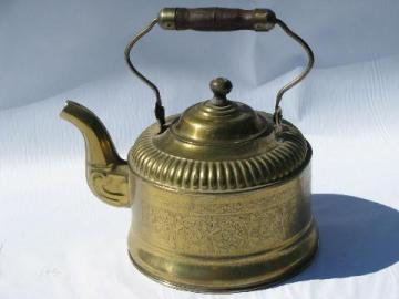 old etched brass tea kettle, teakettle w/ wood handle, vintage England?