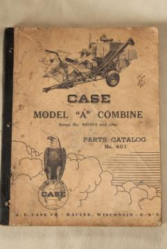 old farm equipment manual, mid-century vintage Case Model A combine