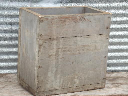Old Farm Tool Box Primitive Vintage Wood Box W Worn Grey Paint