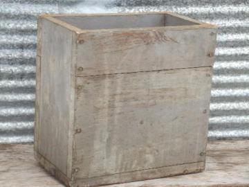 old farm tool box, primitive vintage wood box w/ worn grey paint