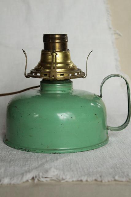 old farmhouse oil lamp, 1920s vintage jadite green tin chamber lamp electrified