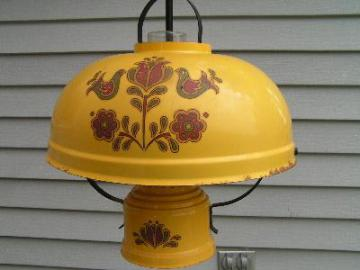 old farmhouse tole hanging lamp, dutch folk art/yellow