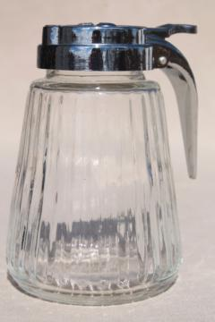 old fashioned glass syrup pitcher w/ drip cut type metal dispenser lid