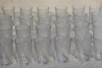 old fashioned jelly glasses / diner style drinking glasses, 24 heavy glass tumblers