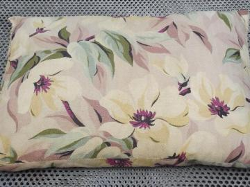 old feather pillow in 40s vintage floral print cotton / rayon fabric