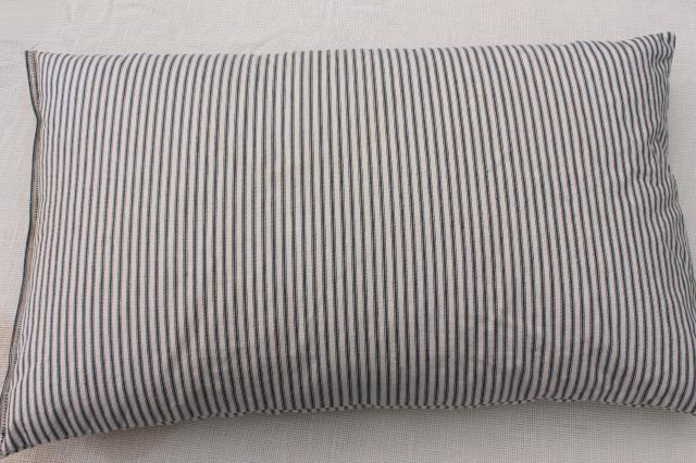 old feather pillow w/ indigo blue striped cotton ticking, rustic primitive country farmhous