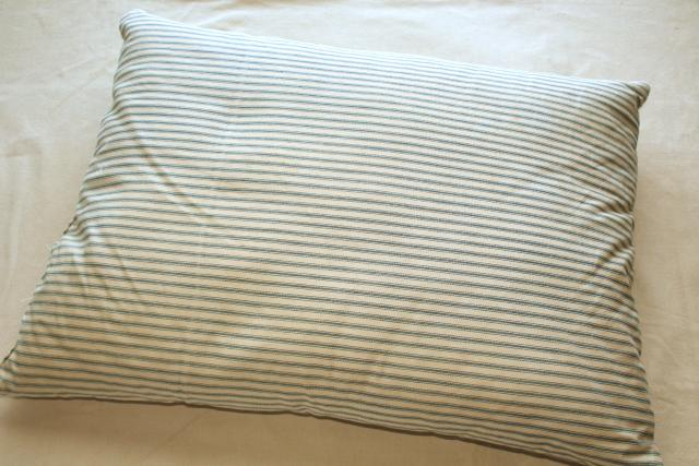old feather pillow w/ indigo blue striped cotton ticking, rustic primitive country farmhouse