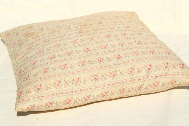 old feather pillow, square seat cushion, grubby vintage flowered ticking fabric