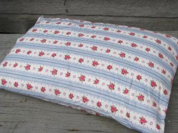old feather pillow, vintage flowered striped cotton fabric cover